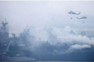 ২৪ ঘন্টা ধরে জ্বলছে মার্কিন বিমানবাহী যুদ্ধজাহাজ