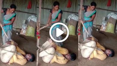 বাড়িতে এসে মাতলামি করায় স্বামীকে শুটিয়ে লাল করে দিল স্ত্রী, দেখুন ভাইরাল সেই ভিডিও - West Bengal News 24